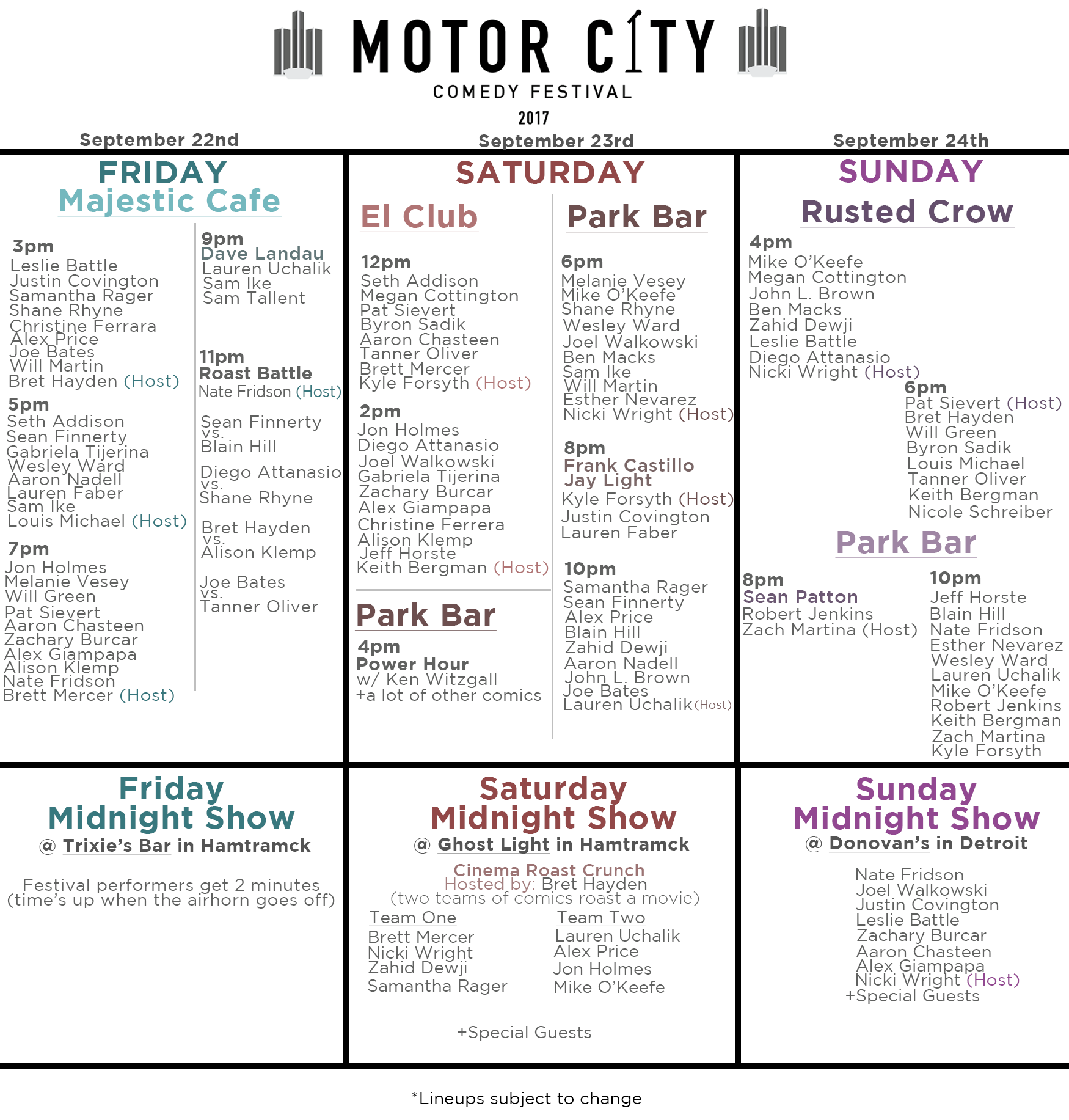 Schedule for 2017 Motor City Comedy Festival