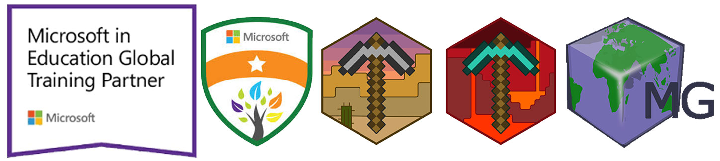 MineGage Certifications - Microsoft Global Education Training Partner - Microsoft Innovative Educator Trainer Badge - Microsoft Minecraft Certified Trainer Badge - Microsoft Minecraft 2017 Mentor Badge - MineGage Logo