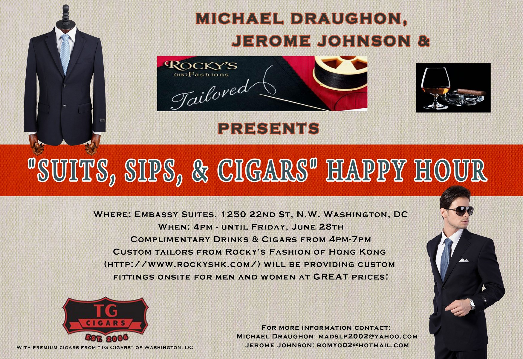 Event flier for Suits Sips Cigars