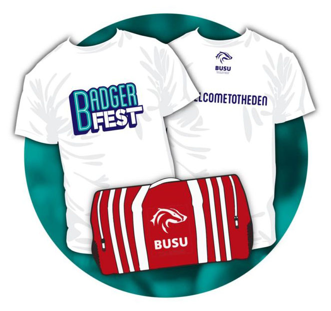 Your BadgerFest All Access Pass included a BUSU duffel bag, a white tshirt and more!