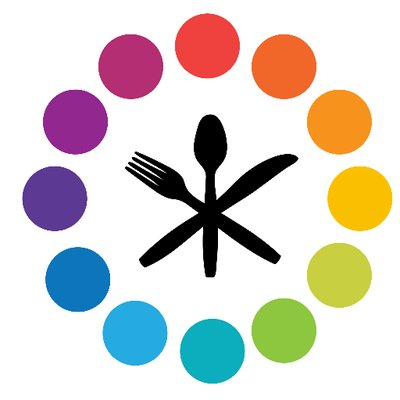 A bright circle with a fork, knife, and spoon crossed inside of it