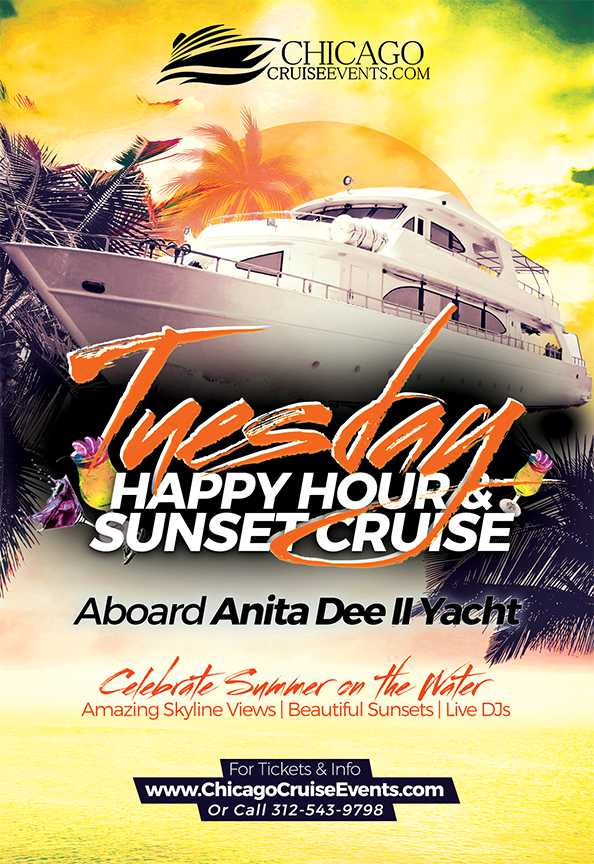 Chicago Cruise Events Tuesday Night Happy Hour & Sunset Cruise
