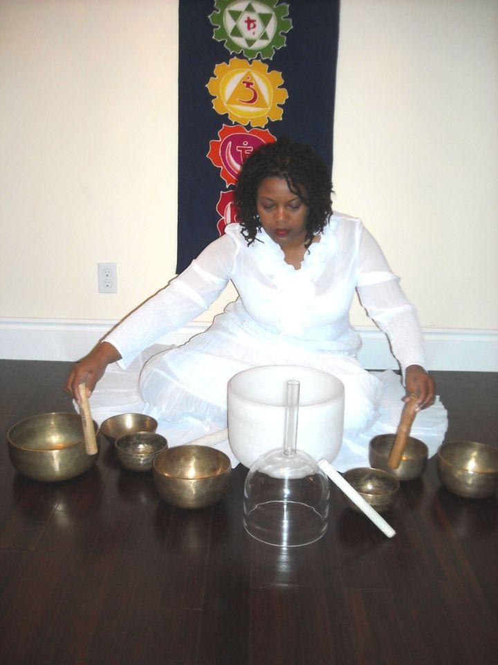 small image- crystal and tibetan bowls