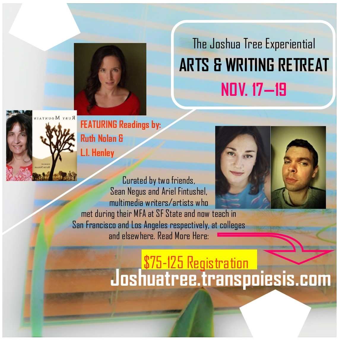 event flyer with images of retreat facilitators and short bios
