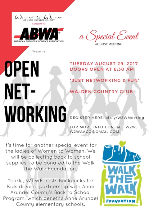 W2W of ABWA flyer for Special August event