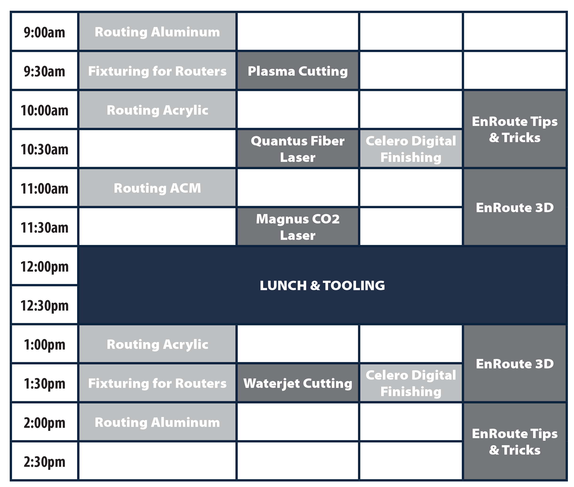 MultiCam MFG Day Workshop Schedule