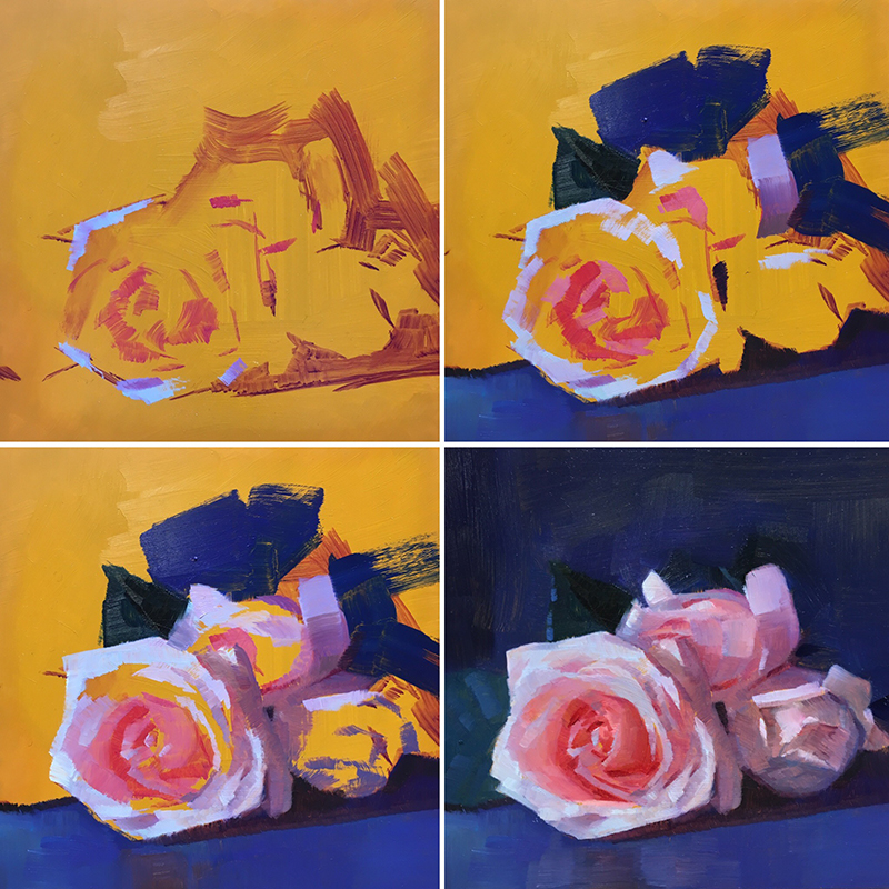 Step-by-step demo of three roses painted alla prima by Caroline Ji.