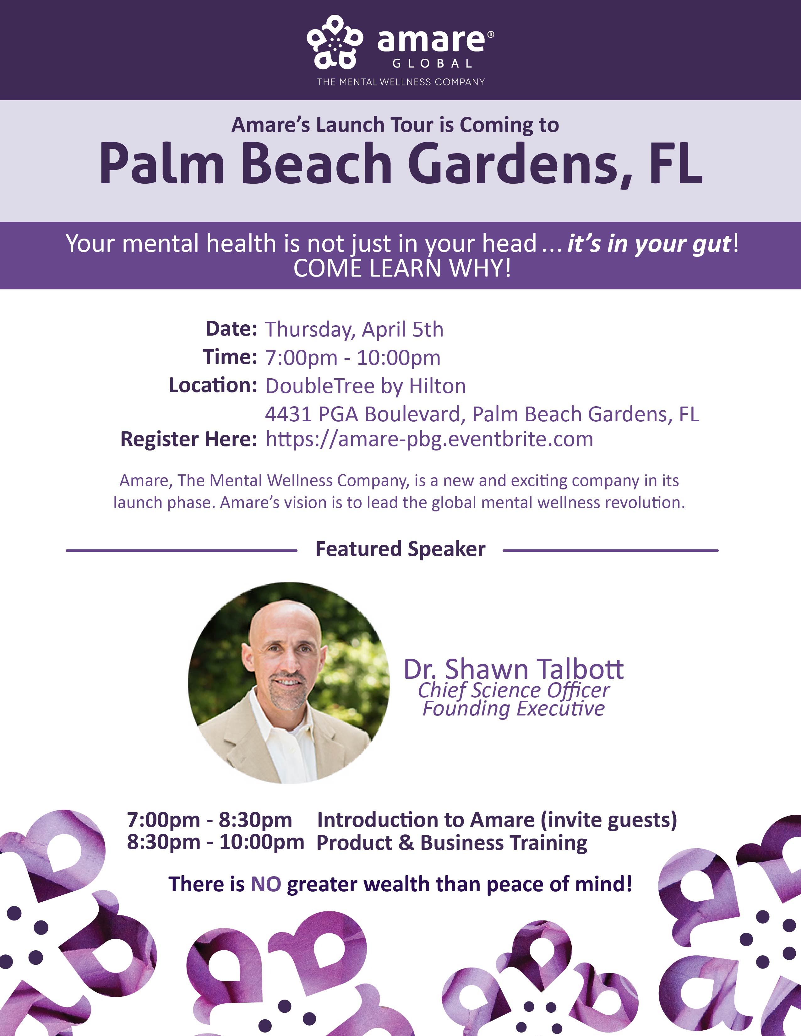 April 5th Palm Beach Gardens, FL Launch Tour Event