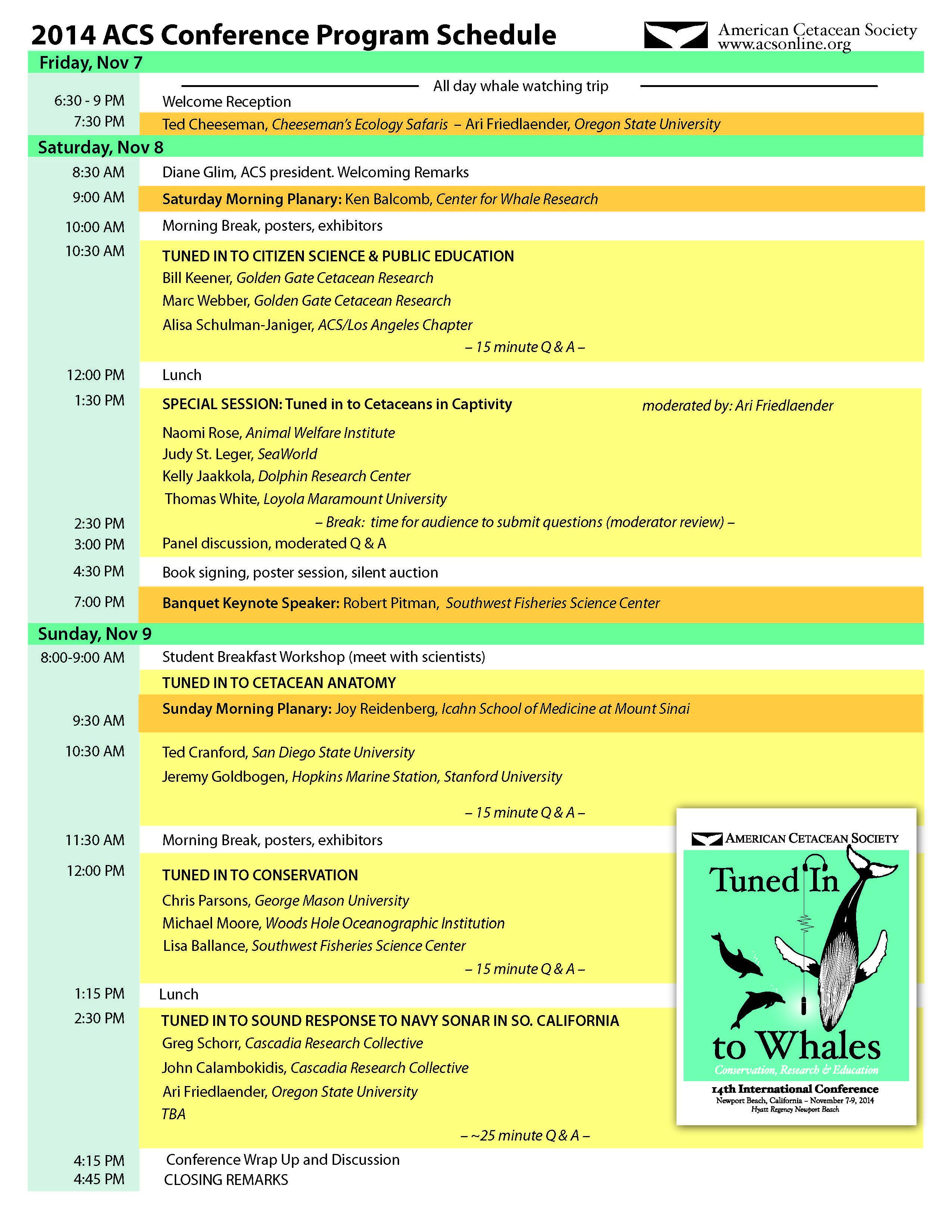 Conference Speaker Schedule