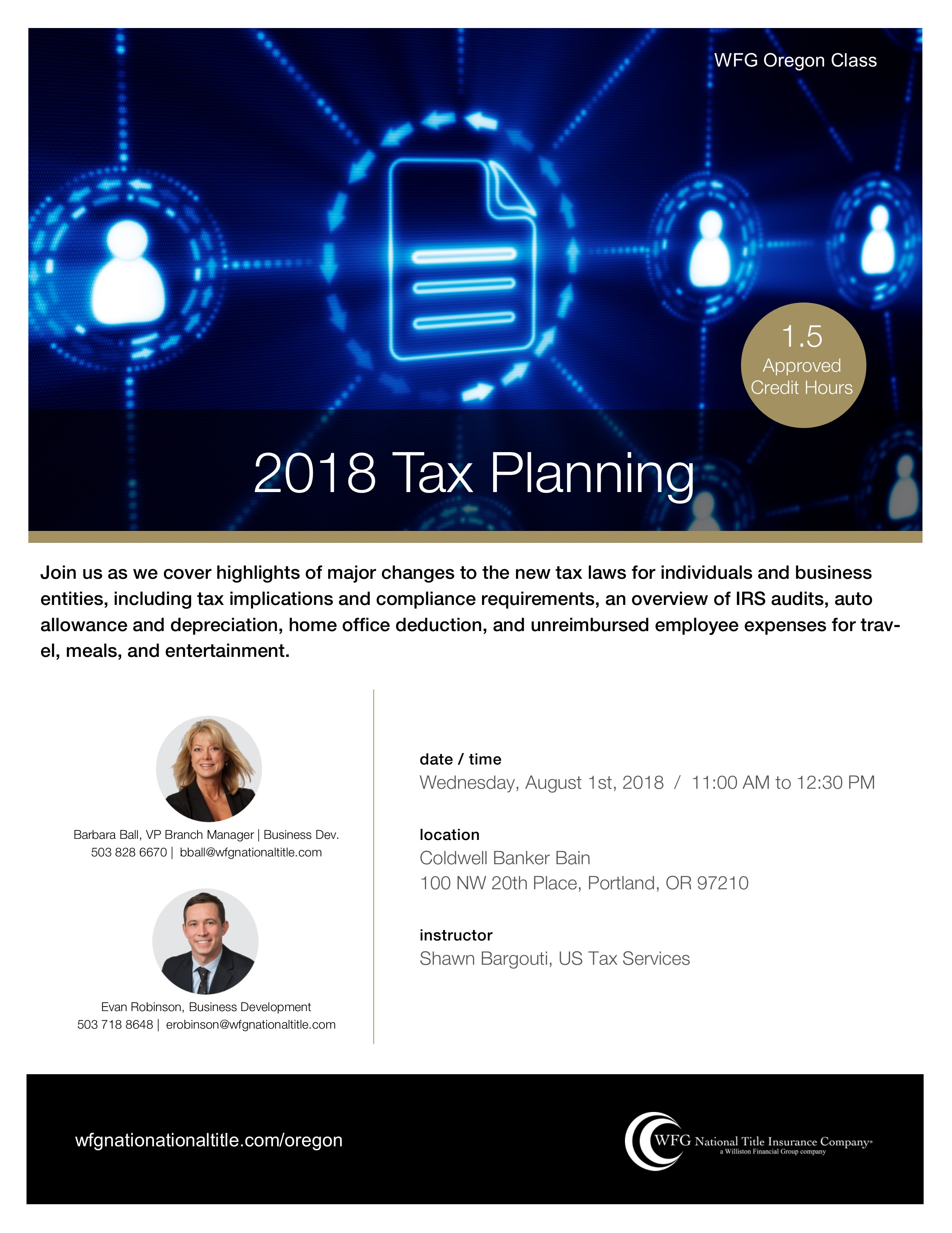 CB Bain | 2018 Tax Planning (1.5 CE-OR) | Portland Uptown | August ...