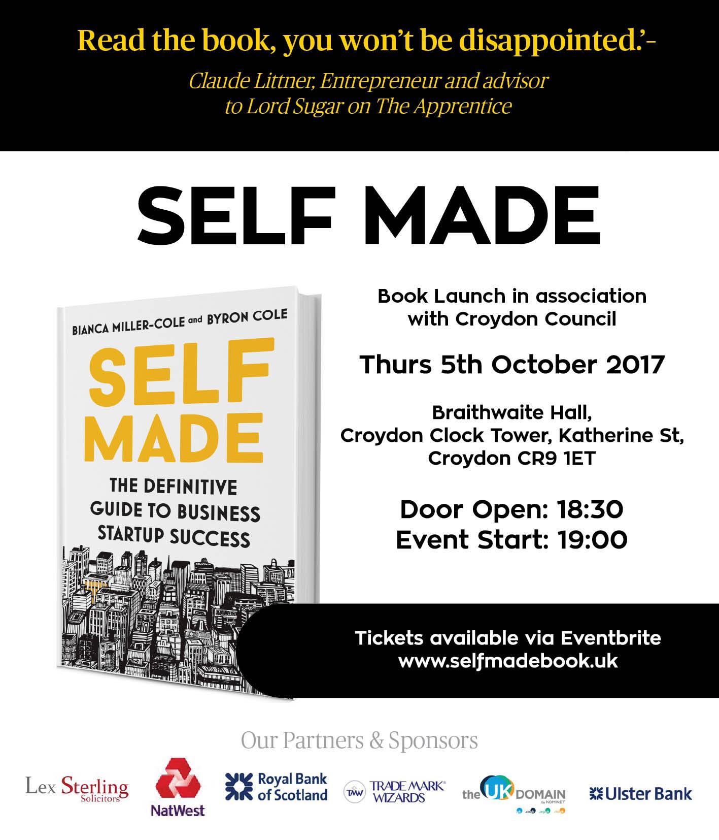 Self Made Book Launch in association Croydon Council