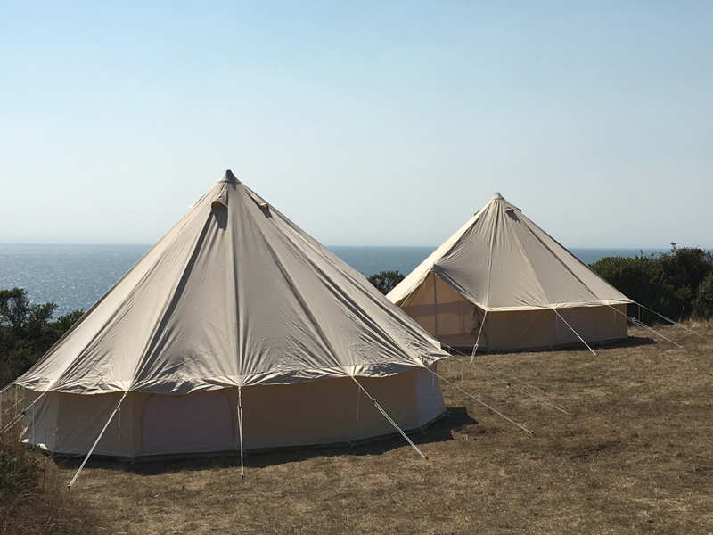 Slide Ranch Glamping tent overlooking Pacific Ocean