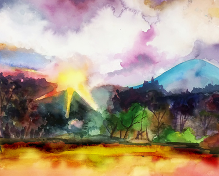 Mountain Sunrise Water Color