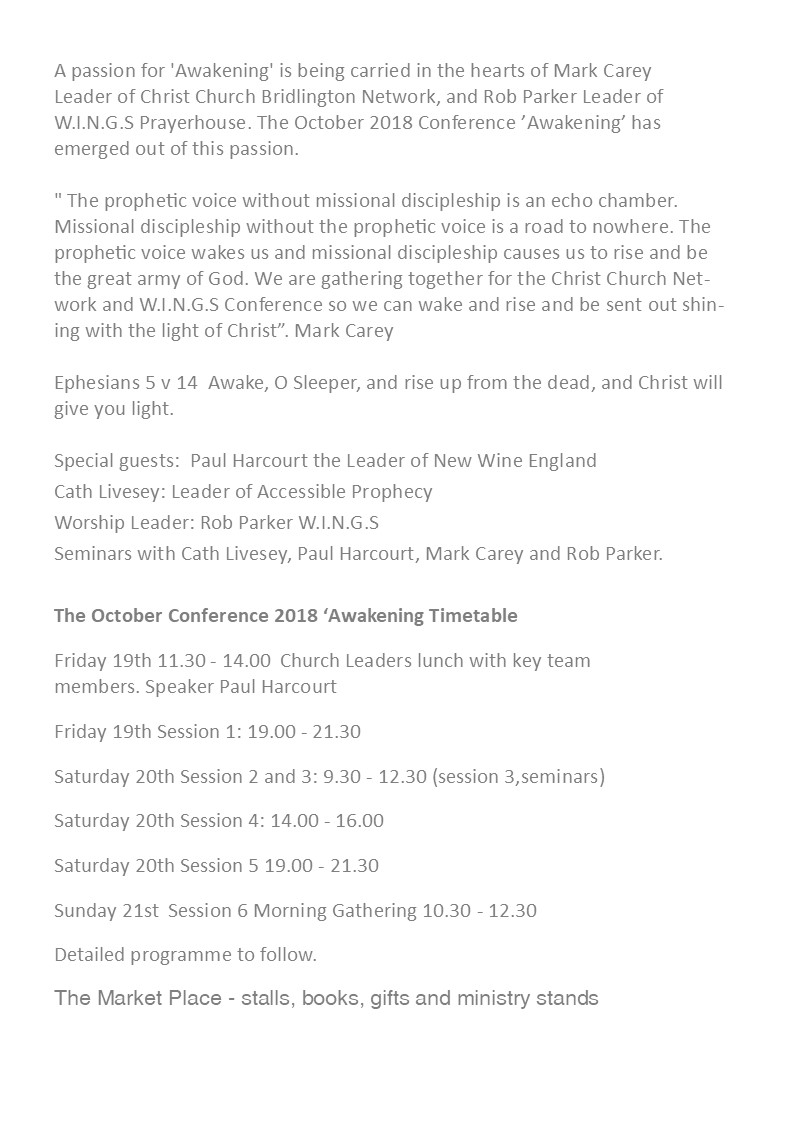The October conference 2018 'Awakening' Christ church Bridlington