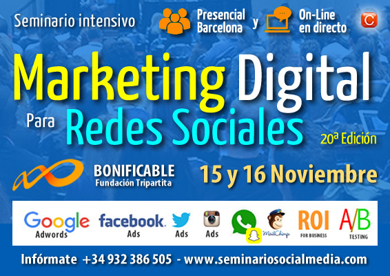 Seminario Marketing Digital para Redes Sociales 15 y 16 Noviembre