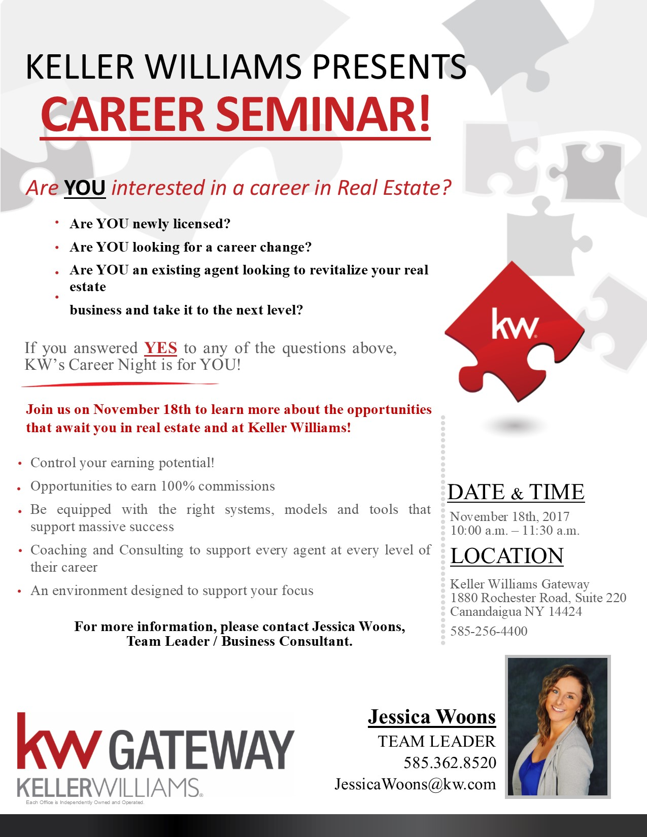 Great opportunity to come & learn what it looks like starting a career in Real Estate and what working with Keller Williams can do for you!