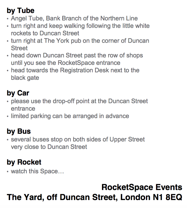 Event description Rocketspace