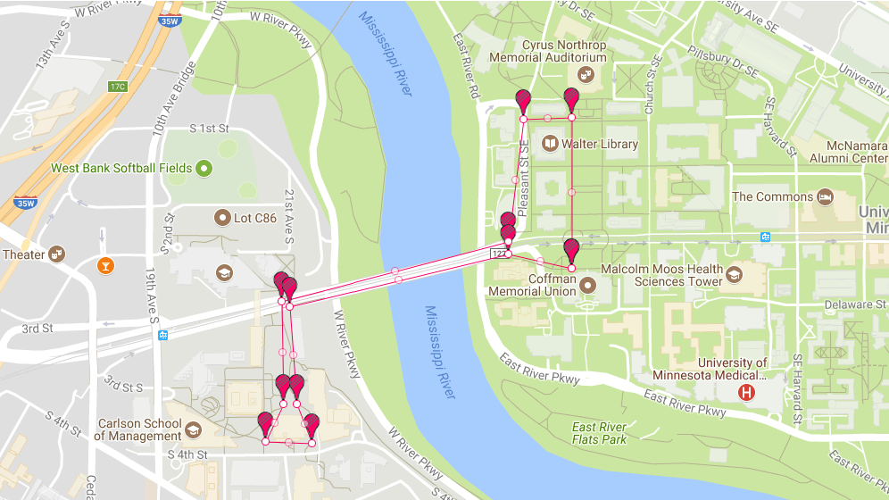 Map of 6.66k Course beginning at Coffman Memorial Union. 3 Laps will complete the course.