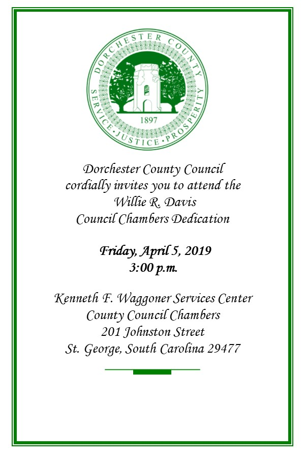 Willie R Davis Council Chambers Dedication Invitation
