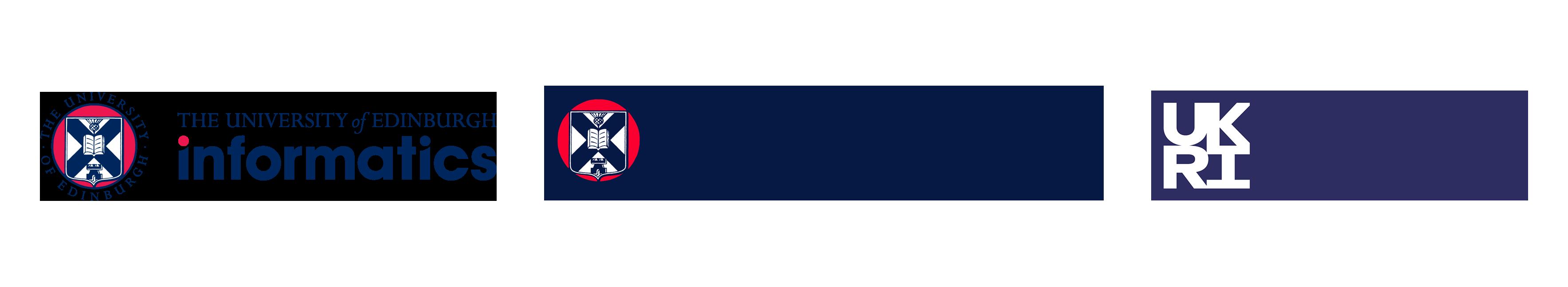 School of informatics, CDT NLP and UKRI logos