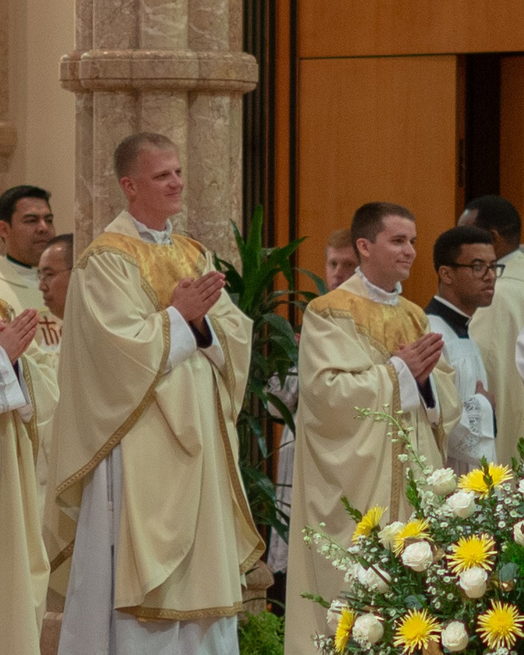 Left to right: Newly ordained Fr. Matthew Schuster and Fr. David Yallaly