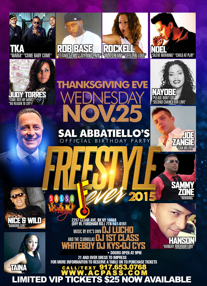 Flyer for the 2015 Freestyle Thanksgiving eve event