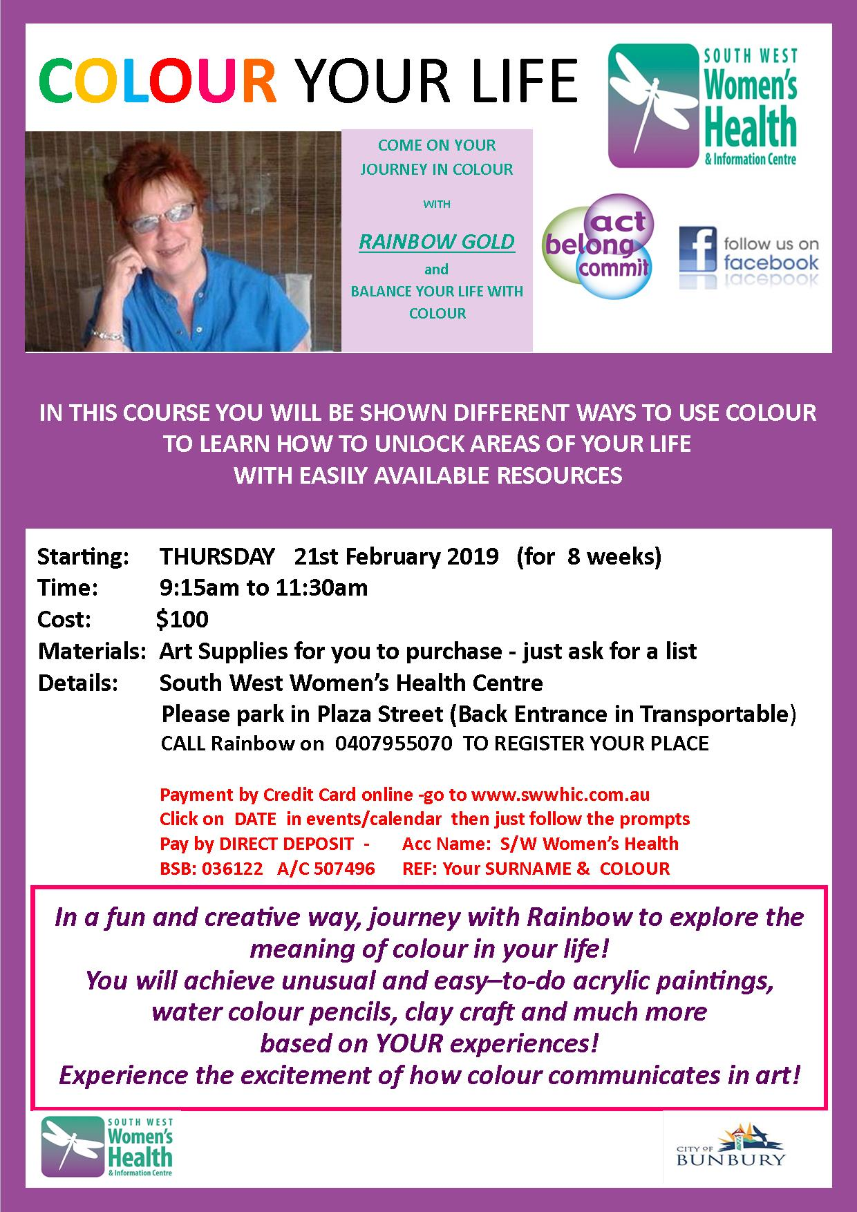 Colour Your Life Art Class Flyer