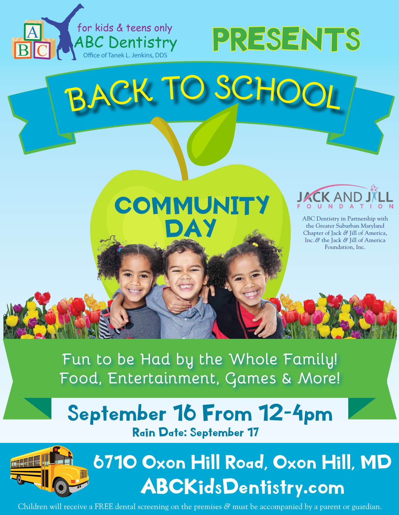 ABC Kids Dentistry Back To School munity Day Tickets Sat