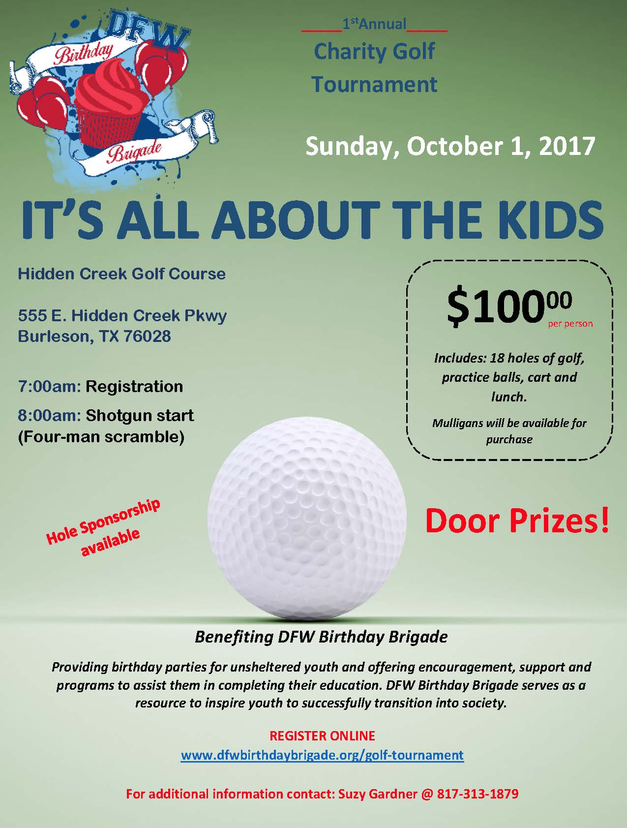 DFW Birthday Brigade Golf Flyer