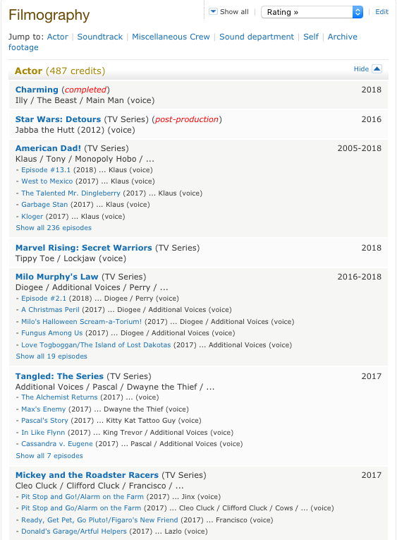 Dee Bradley Baker IMDB