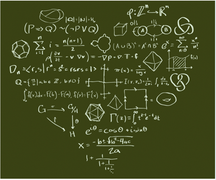 Love Math picture, showing a heartshaped logo made out of mathmatical formulas