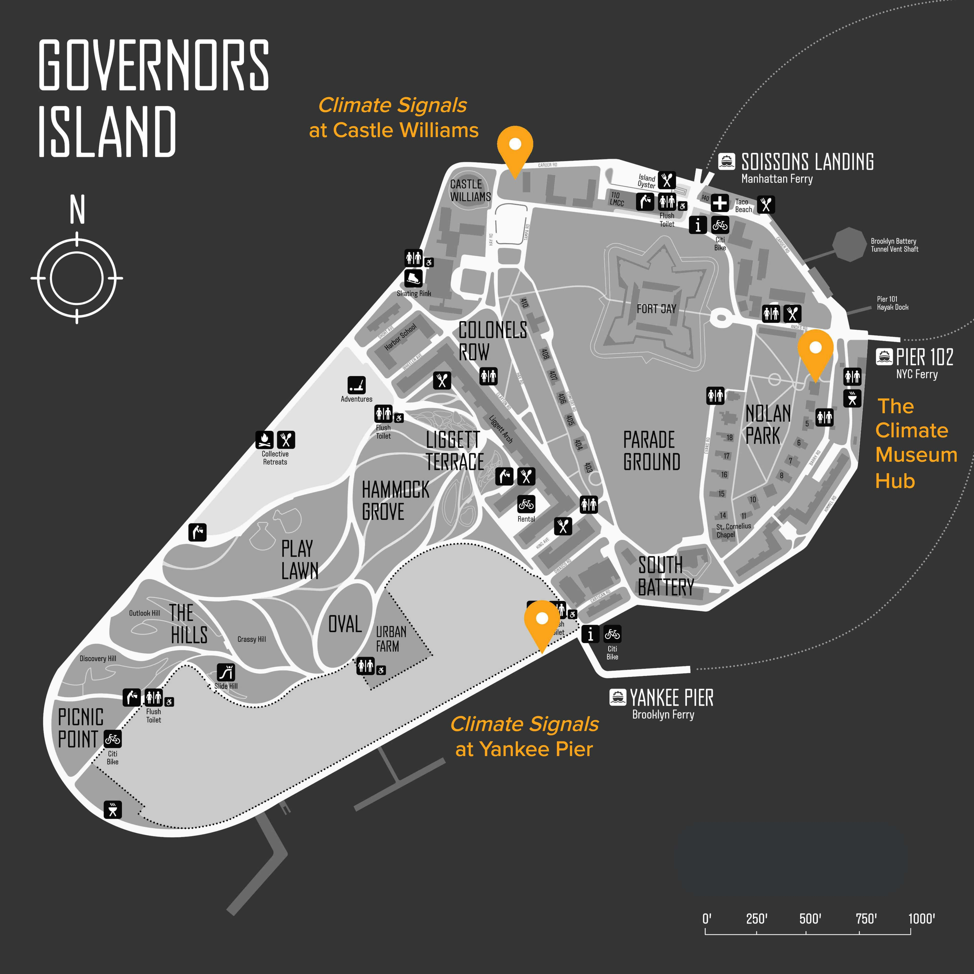 Governors Island Wayfinding Map