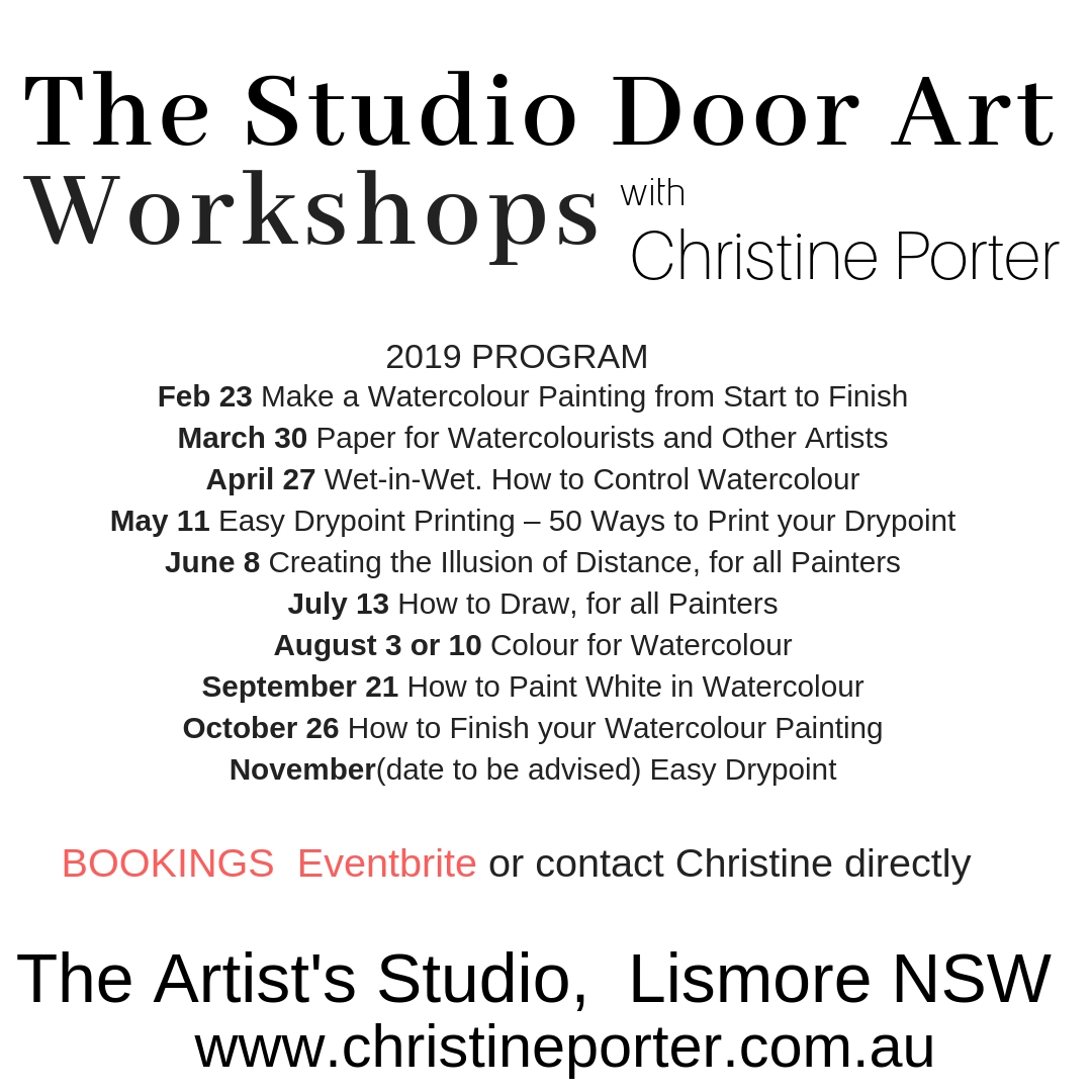 Page of Dates for upcoming Studio Door Art Workshops. For more information go to website, as there's not a lot of space here.