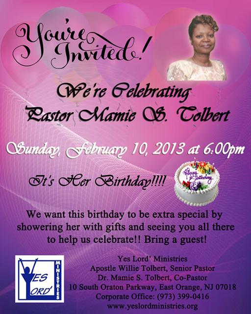Celebrating Pastor Mamie Tolbert's Birthday