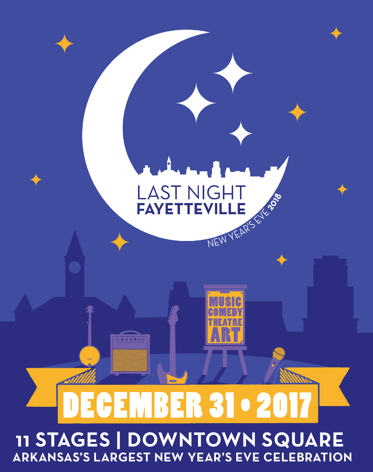It's the largest New Year's Eve celebration in Arkansas!! Last Night Fayetteville is a performing arts festival taking place on December 31st on the downtown Fayetteville square featuring more than 100 local artists on ELEVEN stages. Countdown to 2018 with the world famous Hog Drop Countdown to Midnight & Fireworks, and party on into the New Year as the festival lasts until 2am!