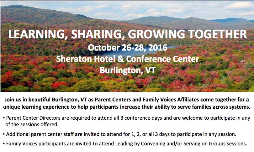 Learning, Sharing Growing Together  Oct 26-28  Burlington, VT