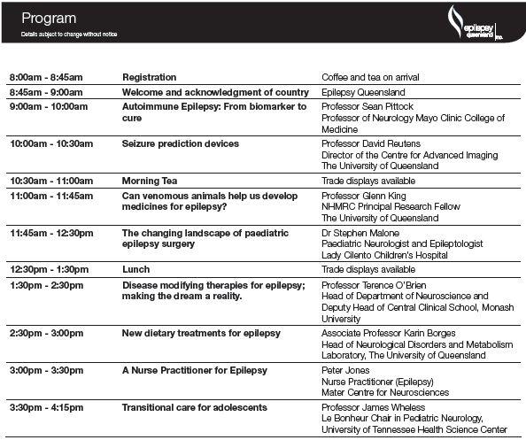 Epilepsy Queensland Program Outline