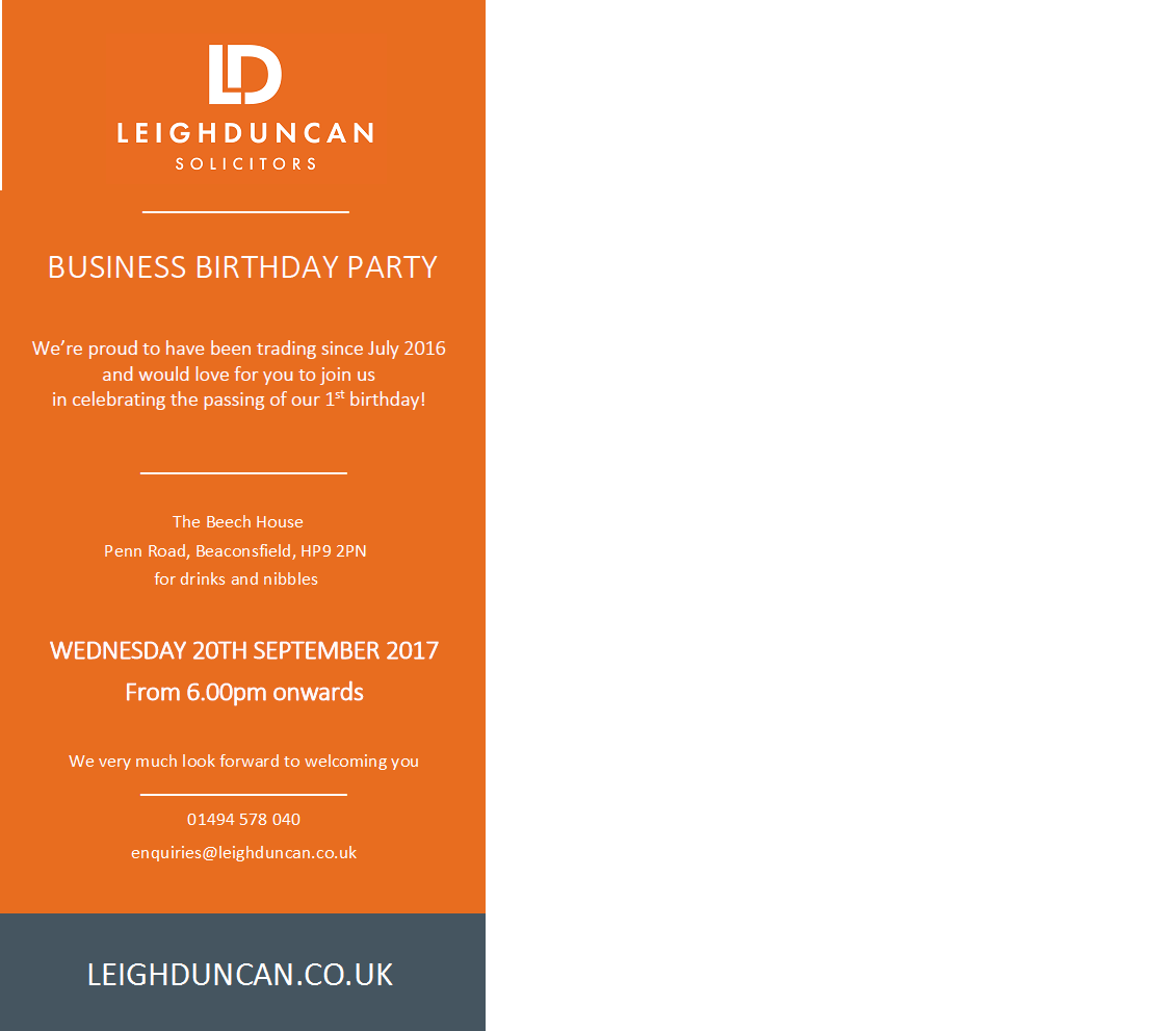 Leigh Duncan Solicitors 1st Birthday Party