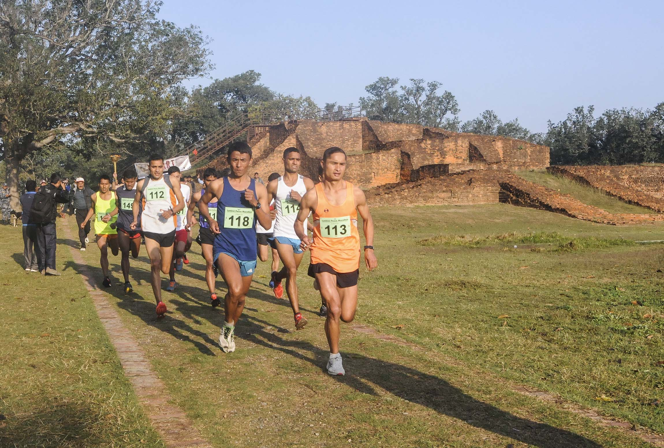 Runners at the Start line in Lumbini Peace Marathon