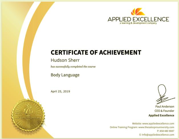 Sales Certification