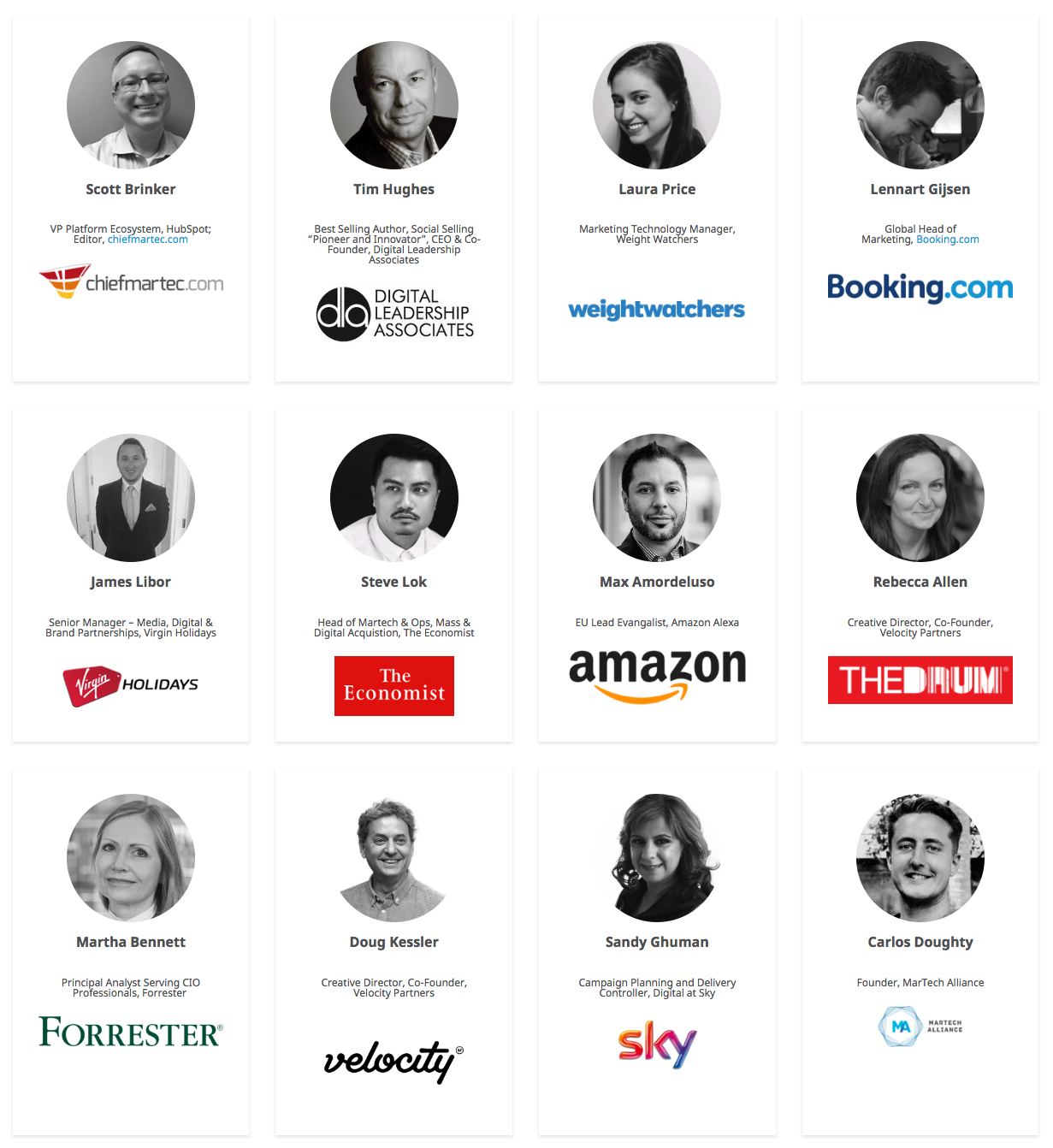 Speakers at the 2018 MarTech Festival, Hawker House London