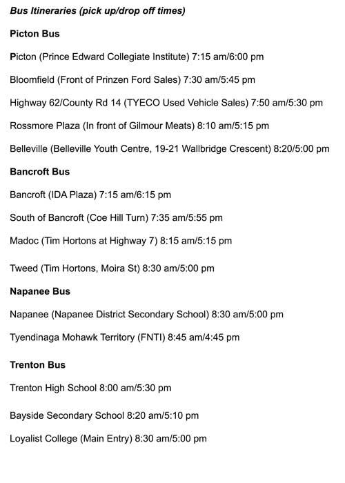 Bus Itinerary