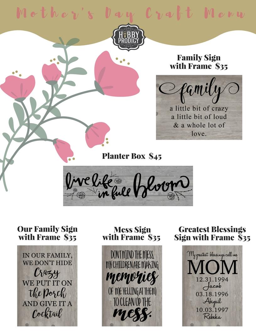 Mothers Day Craft Menu