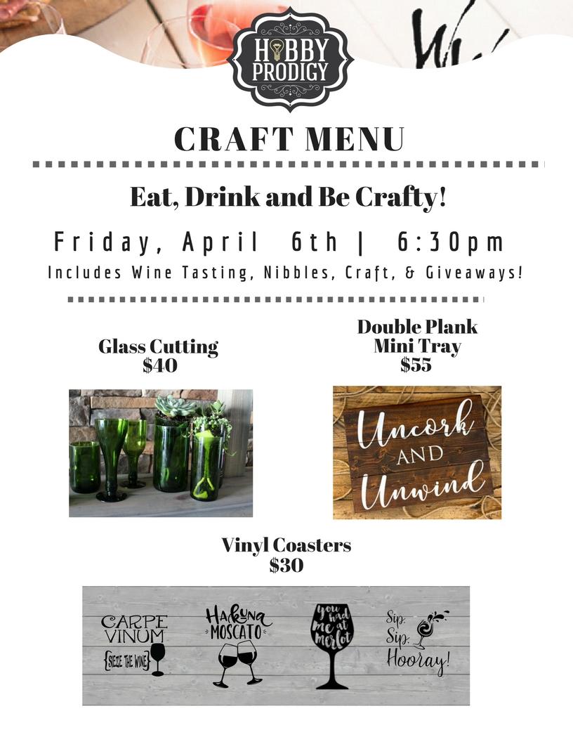 Walnut and Winery Craft Menu