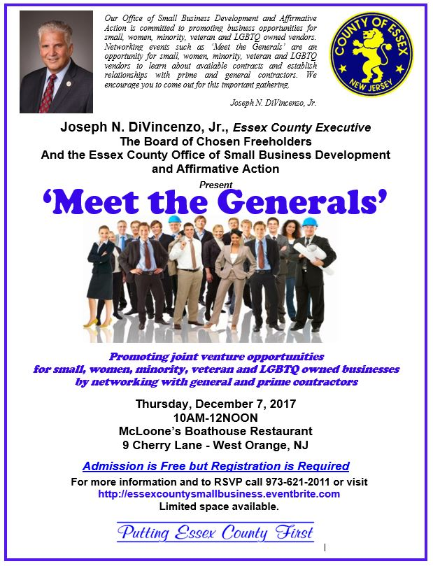 Essex County Small Business Dev. & AA Meet the Generals