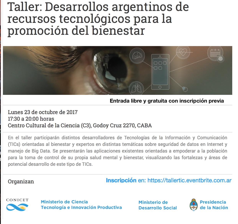 Taller:Desarrollos argentinos de recursos tecnológicos para la ...