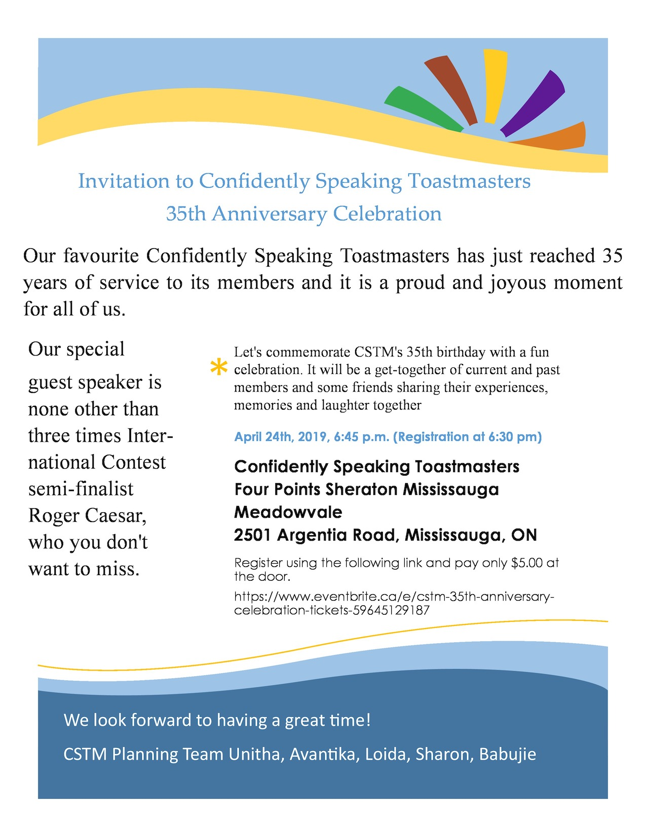 Invitation for CSTM 35th Anniversary