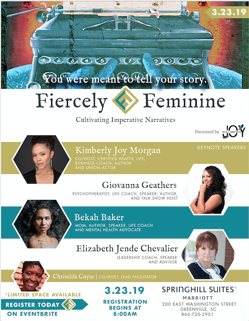 A graphic flier that shows the 4 Keynote speaker:  Kimberly Joy Morgan, Giovanna Geathers, Bekah Baker, Elizabeth Jende Chevalier