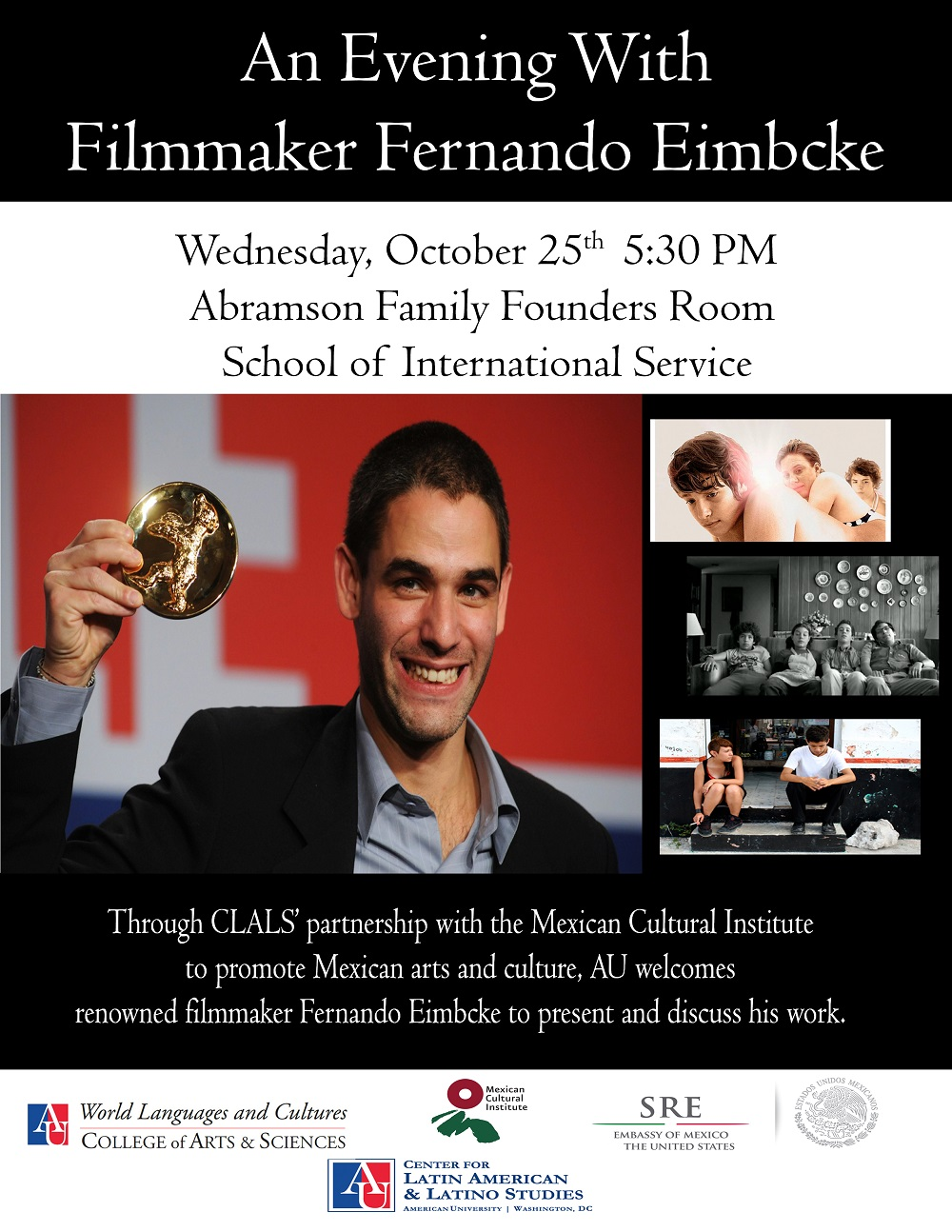 Flyer with information for Fernando Eimbcke event