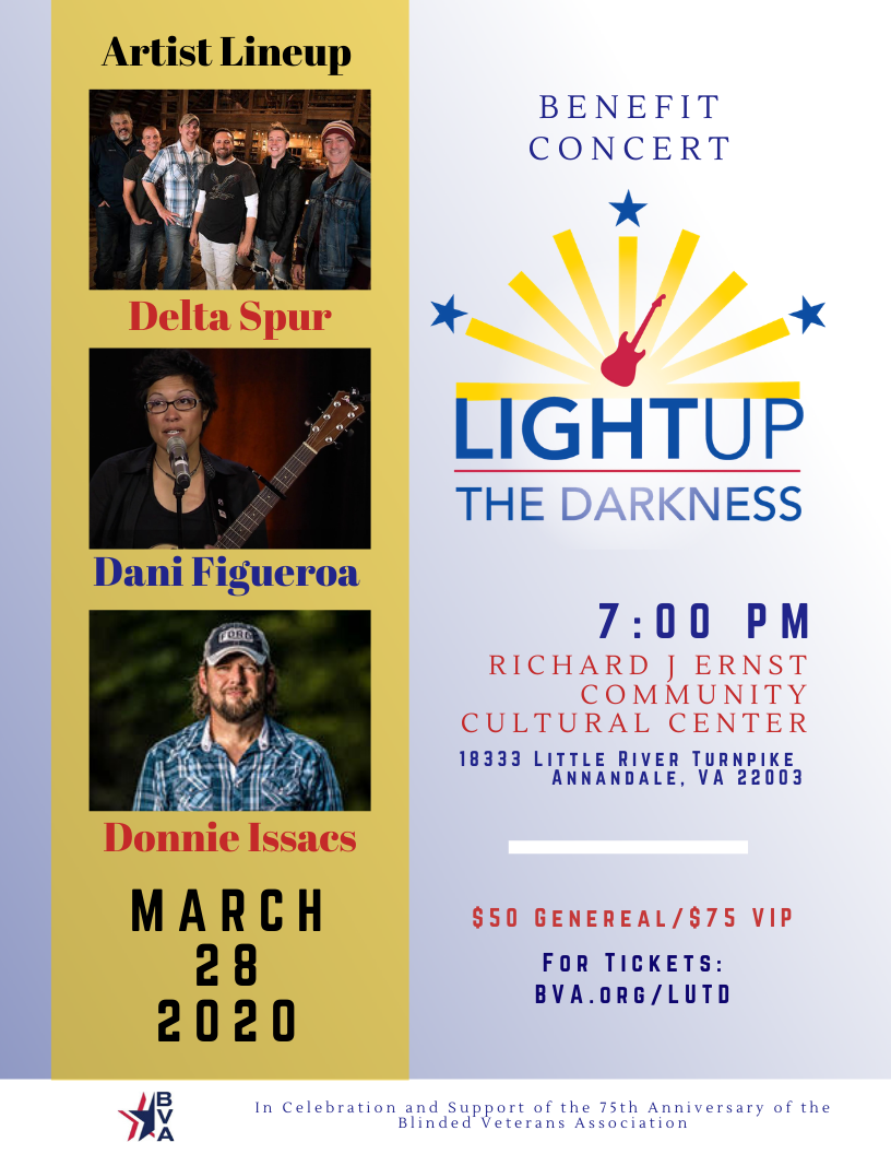Light Up the Darkness Concert logo with pictures of the three artist who will perform: Delta Spur, Dani Figueroa, and Donnie Issacs.